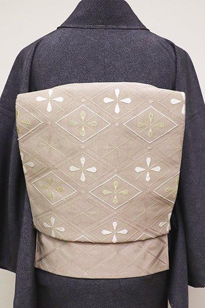 銀座【K-6727】西陣 河村織物製 紋綴 八寸名古屋帯 胡桃染色 菱文(反端付)