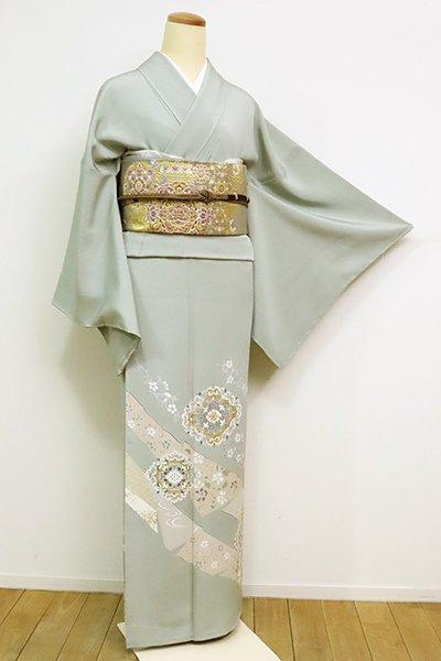 銀座【B-2566】繍一ッ紋 色留袖 利休鼠色 裂取りに華文