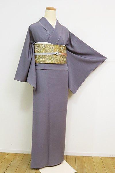 銀座【C-1867】(S・広め)繍一ッ紋 江戸小紋 褐色 万筋(反端付・落款入)