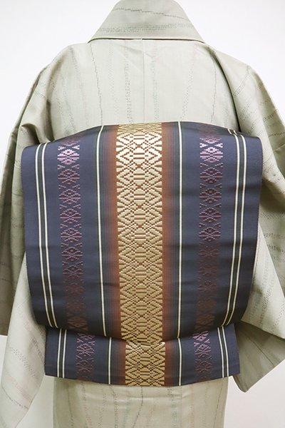 銀座【K-6735】博多織 八寸名古屋帯 褐色 献上柄