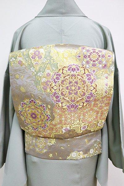 あおき【L-5070】西陣 じゅらく製 帝王紫 袋帯 白鼠色×金色 道長取りに華文など(落款入)