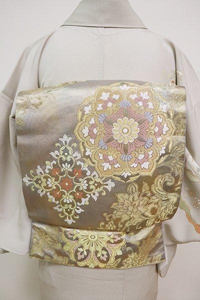 あおき【L-5071】西陣 川島織物製 本袋帯 錫色×金色 花唐草に華文(落款入)
