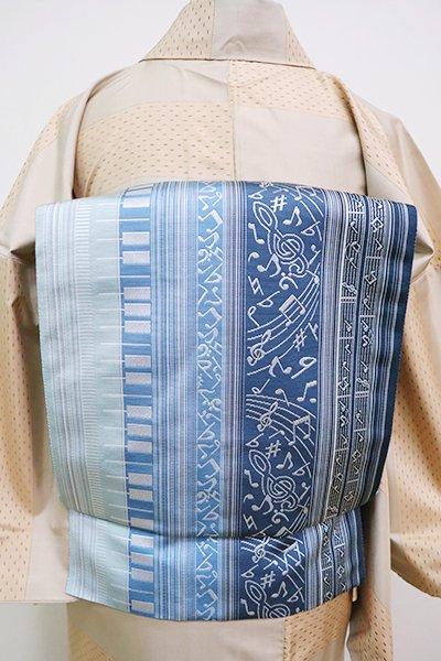 銀座【K-6736】本場筑前博多織 紋織 八寸名古屋帯 縞に鍵盤や音符の図(証紙付)(N)
