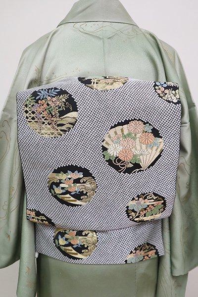 銀座【L-5076】西陣服部織物製 袋帯 黒色 丸に四季花文(落款入)