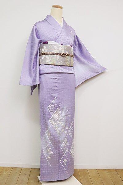 あおき【B-2573】(広め)刺繍 付下げ 藤紫色 七宝や四季花の図