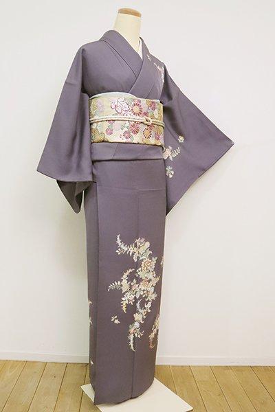 あおき【B-2574】(S)繍一ッ紋 訪問着 紫鼠色 唐花の図