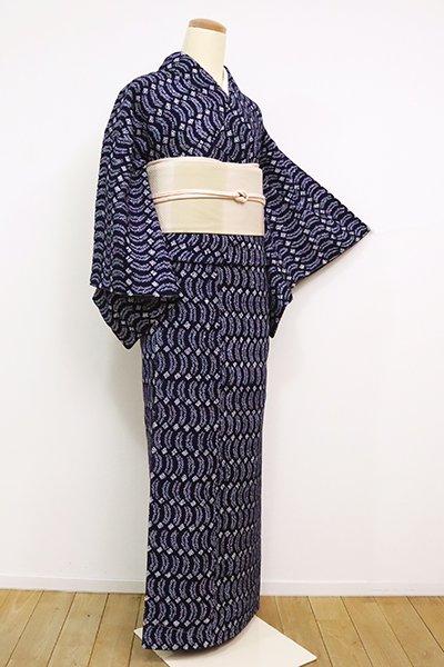 銀座【D-2503】(細め)木綿地 絞り染め 小紋 濃藍色 抽象文