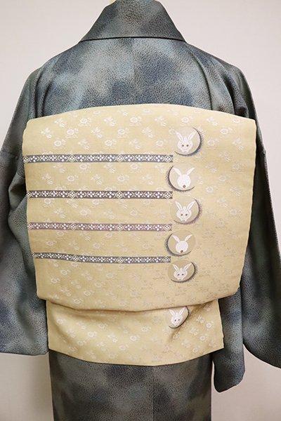 あおき【K-6738】織名古屋帯 浅黄色 段に兎の図