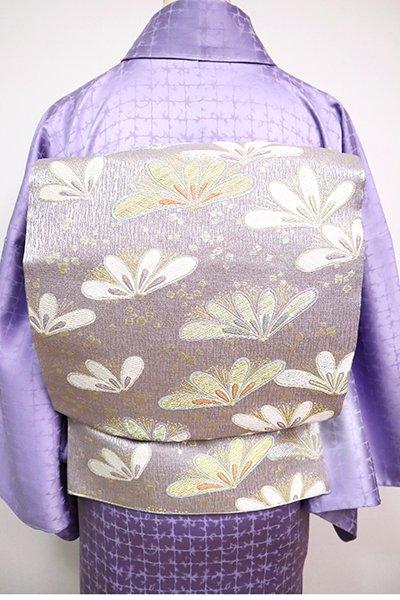 あおき【L-5078】西陣製 袋帯 暁鼠色 花文(証紙付)