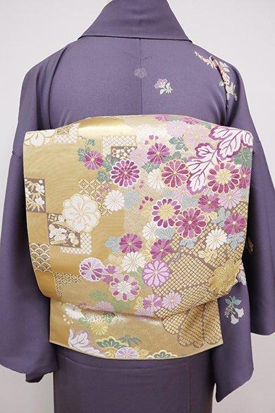 銀座【L-5079】袋帯 金色 菊花や市松文