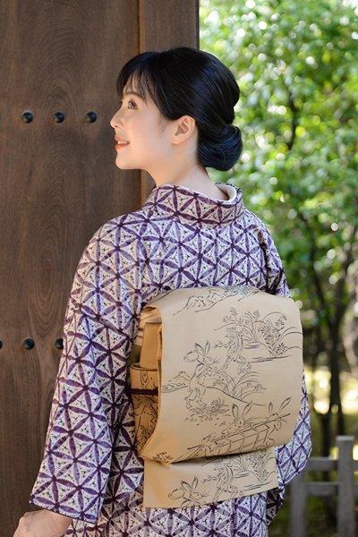 銀座【帯3336】西陣 今河織物製「木屋太」袋帯 (反端付)
