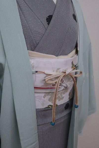 銀座【G-1586】京都 衿秀製 羽織紐 平組 赤香色×白色 暈かし(新品)