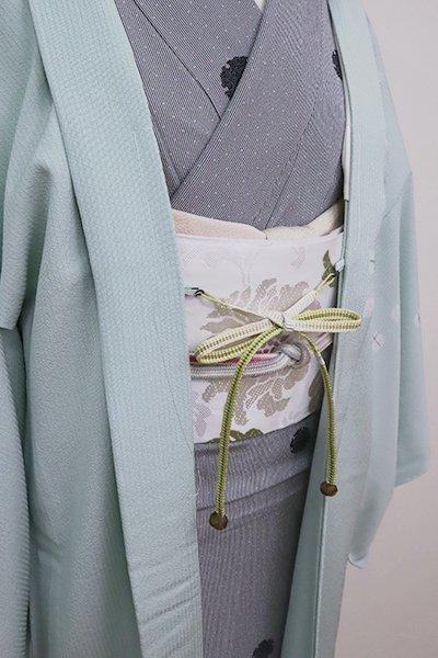 銀座【G-1587】京都衿秀 羽織紐 平組 抹茶色×白色 暈かし (新品)