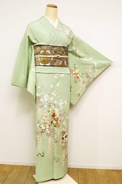 【B-2575】訪問着 裏葉柳色 四季花の図(東武扱い)