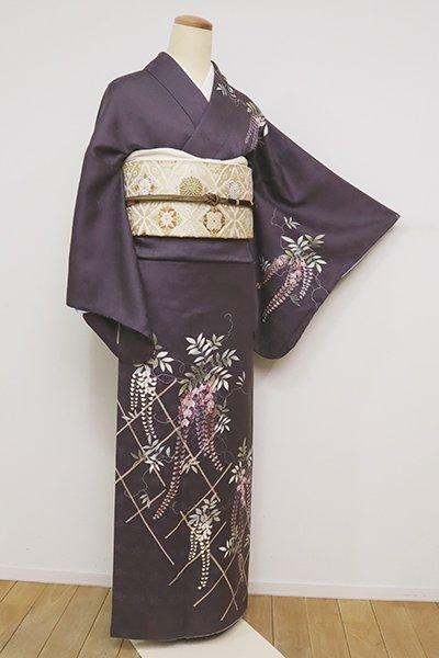 あおき【B-2578】(広め)訪問着 滅紫色 藤の図(反端付・洒落紋付き)