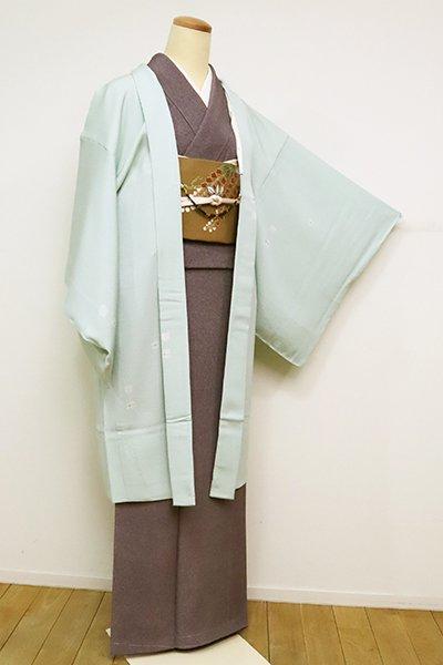銀座【E-1231】単衣 羽織 青磁鼠色 抽象文 (反端付)