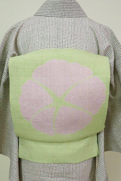 あおき【K-6742】生紬地 染名古屋帯 若菜色 朝顔の図
