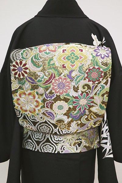 銀座【L-5081】袋帯 黒色 更紗花文