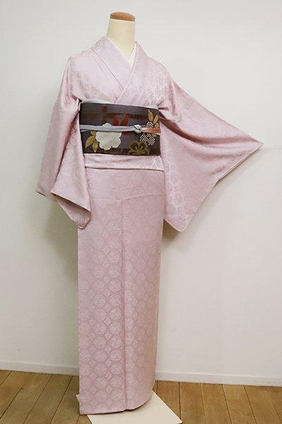 銀座【C-1872】(広め)染一ッ紋 色無地 灰桜色 装飾華文の地紋