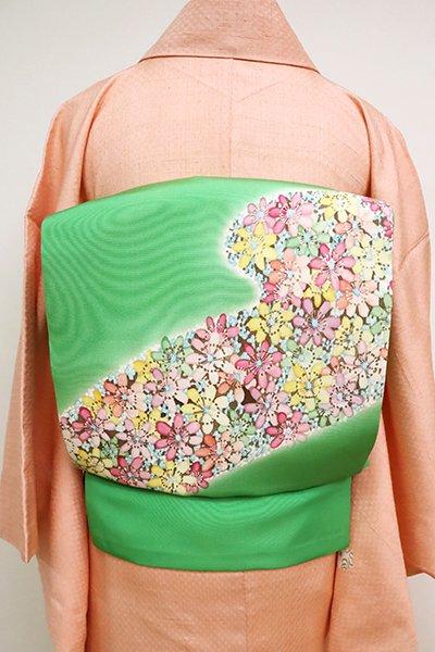 あおき【K-6745】塩瀬 染名古屋帯 緑色 花の図