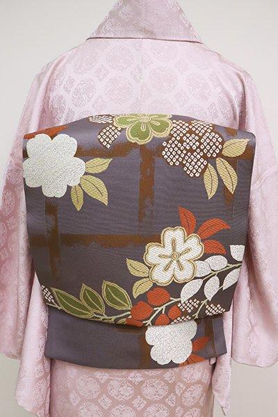 銀座【L-5084】本袋帯 薄鼠色 藤と桜の図