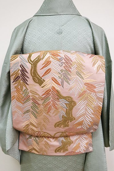 銀座【L-5085】唐織 袋帯 薄柿色 柳の図