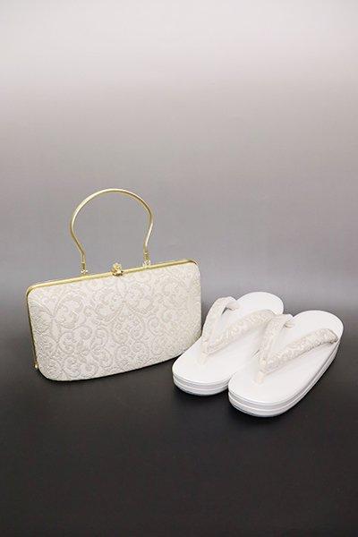 銀座【G-1596】京都 衿秀製 フォーマル草履・バッグセット 白色×金色(N)
