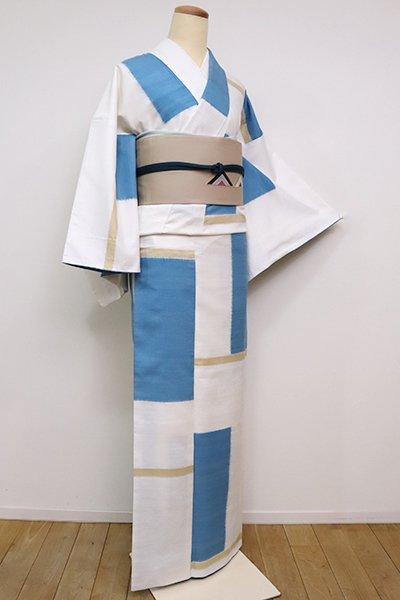 銀座【A-3086】信州紬 白色×縹色 幾何文(京都ゑり善扱い・畳紙付き)