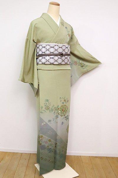 銀座【B-2580】蘇州刺繍 訪問着 柳茶色 唐花や華文
