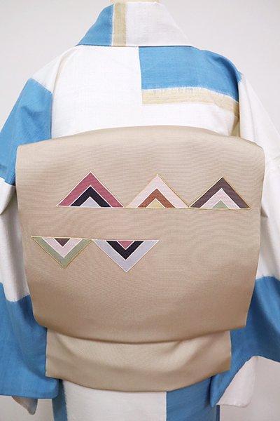 銀座【K-6751】塩瀬 染名古屋帯 白橡色 幾何文