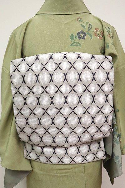 銀座【L-5087】洒落袋帯 絹鼠色 抽象文
