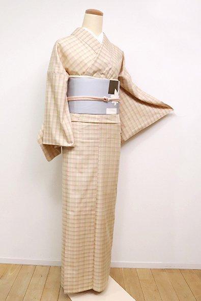 銀座【A-3087】単衣 米沢紬 薄柿色×蒸栗色 格子(反端付)
