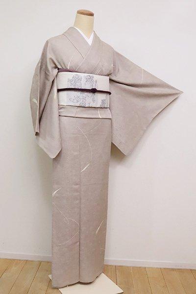 銀座【D-2510】(S)単衣 小紋 江戸鼠色 葉の図