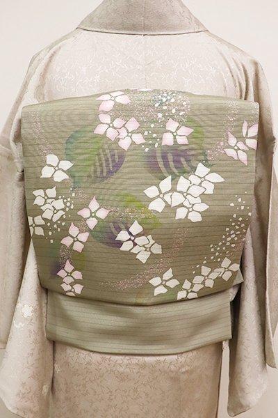 銀座【K-6752】絽塩瀬 染名古屋帯 灰汁色 紫陽花の図