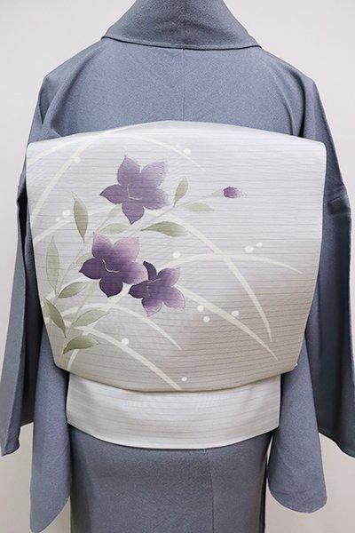 銀座【K-6753】絽塩瀬 染名古屋帯 紫水晶色 桔梗の図