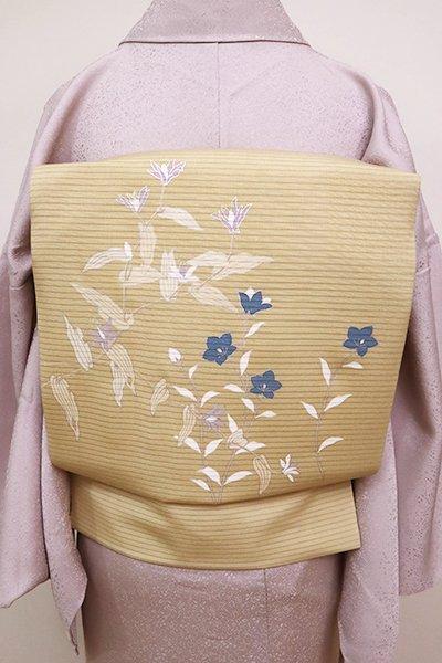 あおき【K-6754】絽塩瀬 染名古屋帯 枯色 野の花や桔梗の図