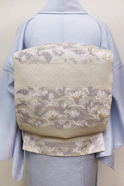 銀座【L-5093】西陣製 袋帯 絹鼠色 雪輪青海波段文(証紙付)