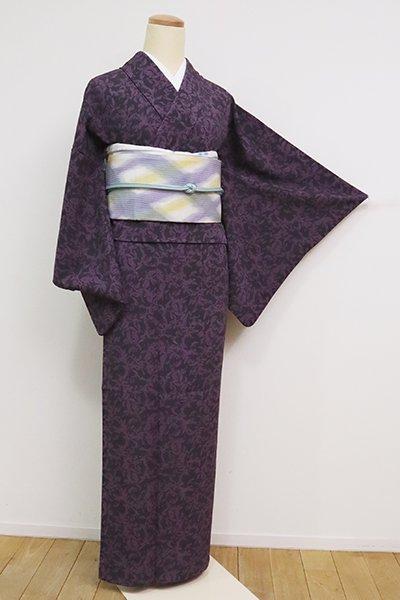 銀座【D-2511】(S・広め)きもの英製 単衣 小紋 黒色×葡萄鼠色 植物文
