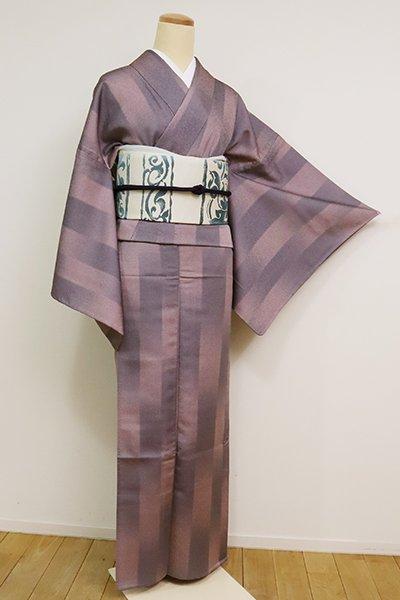 銀座【D-2512】(L)単衣 小紋 葡萄鼠色 暈かし縞