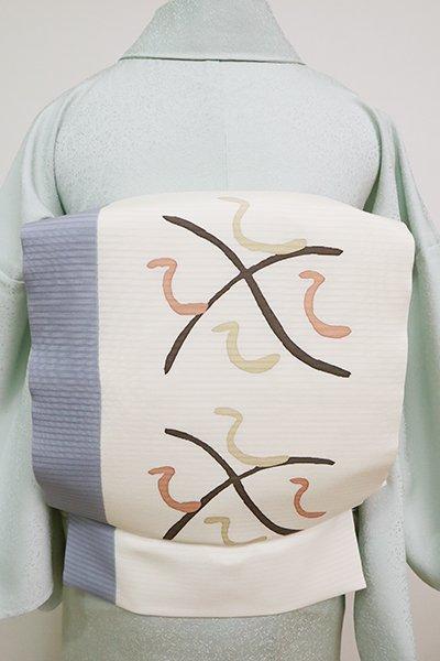 銀座【K-6761】絽塩瀬 染名古屋帯 白色×薄花色 抽象文