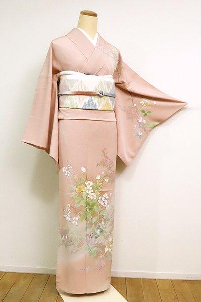 銀座【B-2586】(広め)単衣 訪問着 水柿色 春の花枝の図
