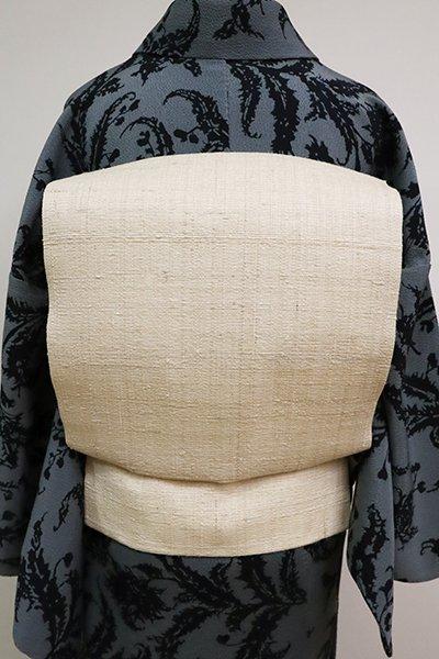 銀座【K-6765】紬地 織名古屋帯 薄卵色 無地(長尺)