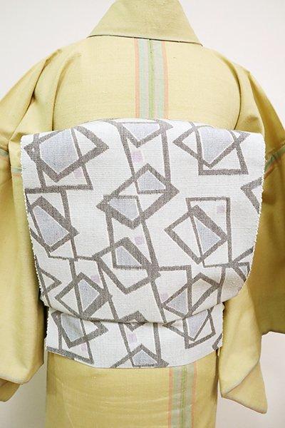 銀座【K-6767】紬地 織八寸名古屋帯 白花色 幾何文