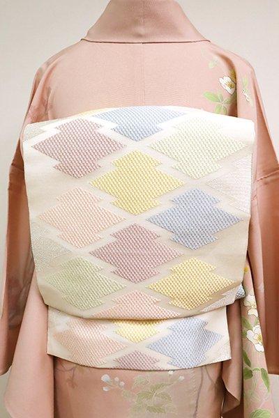 あおき【L-5095】紗 本袋帯 白色 松皮菱文