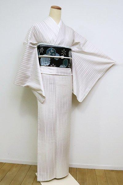 銀座【A-3097】単衣 御召 白練色 竪絣文