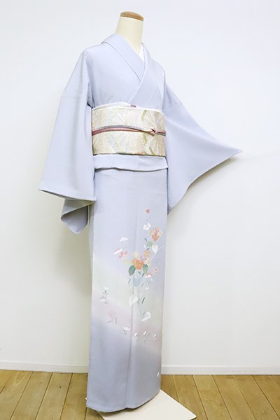 銀座【B-2587】単衣 訪問着 淡藤色 紫陽花と撫子の図(反端付)