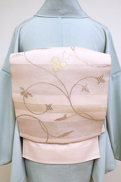 銀座【L-5096】絽 袋帯 淡い一斤染色 段に唐草文(三越扱い)