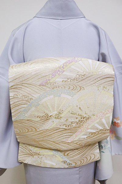銀座【L-5097】夏袋帯 練色 波に源氏車の図
