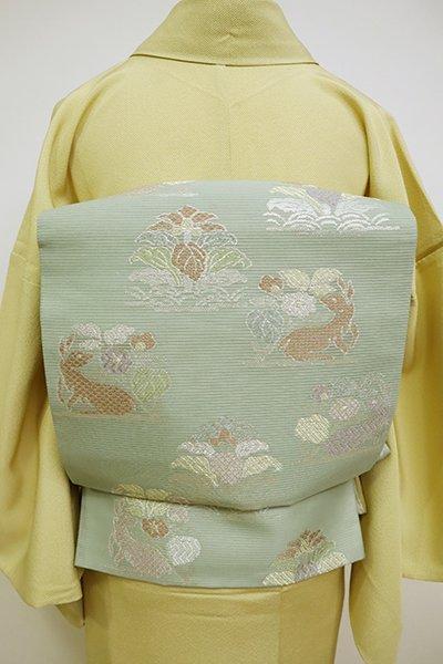 銀座【L-5098】絽 袋帯 山葵色 作土文
