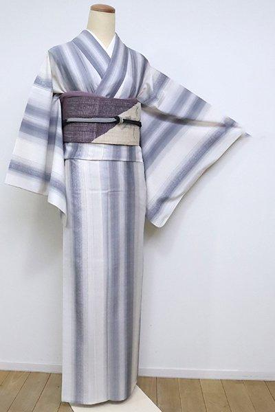 【A-3098】単衣 本場奄美大島紬 白色×灰青色 竪縞に微塵絣(証紙付)